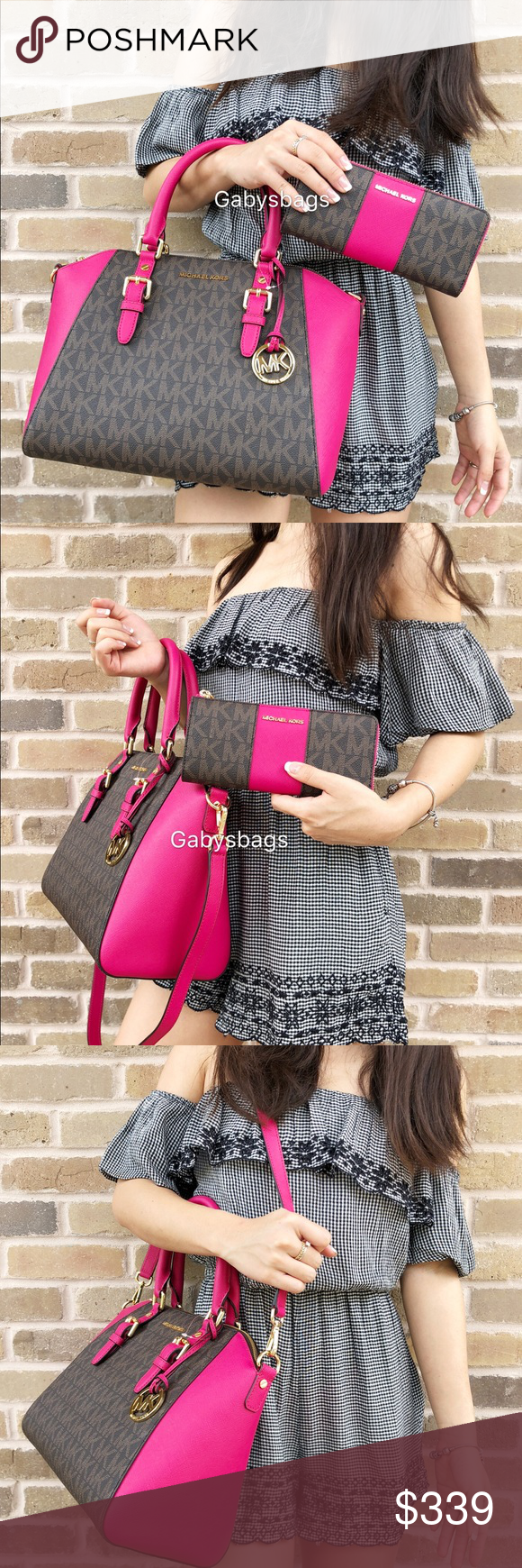 a6e89ae5e3d8 Michael Kors set large Ciara brown MK Pink Satchel Both brand new with tags  Authentic Michael