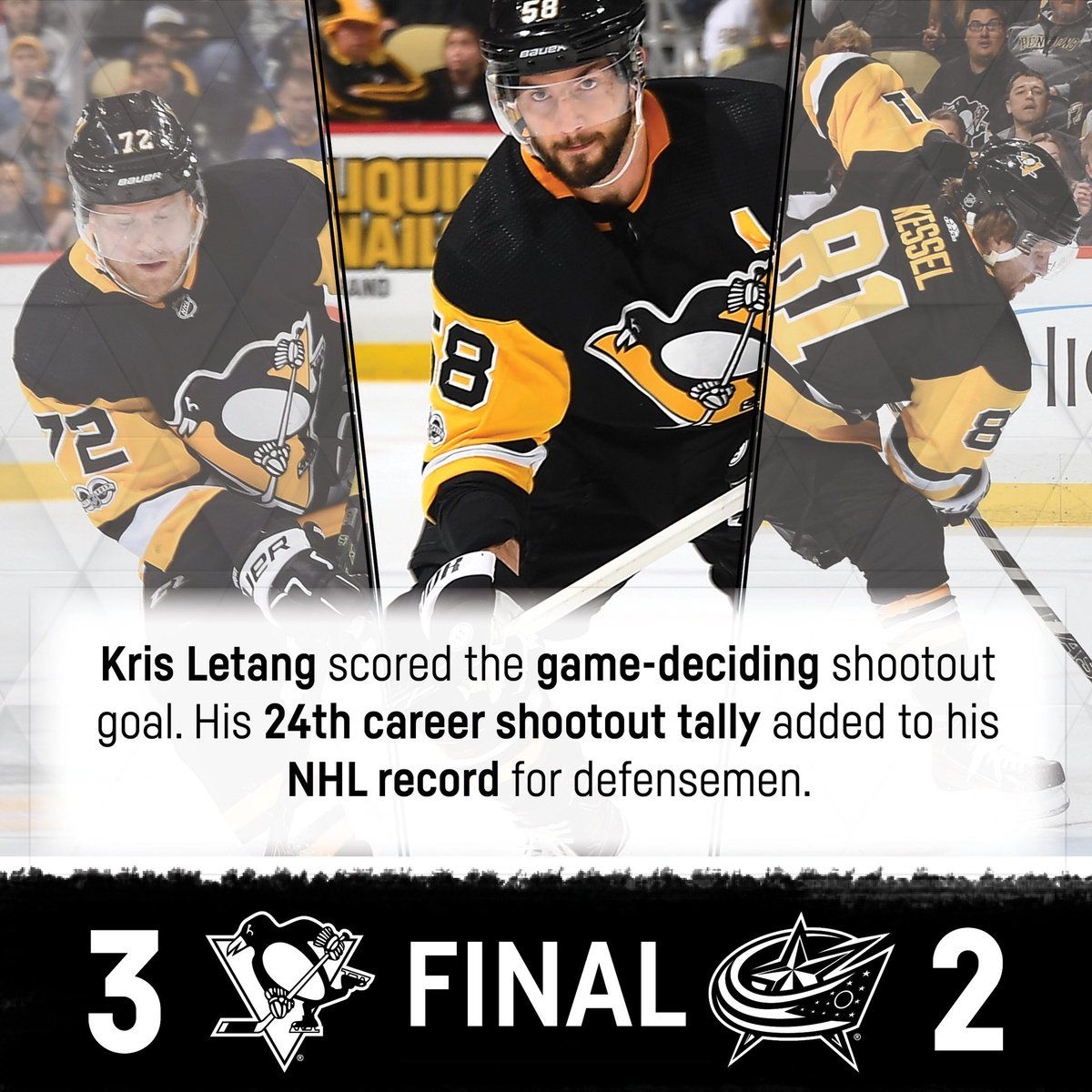 I'm still mad the Jackets lost but great job Letang