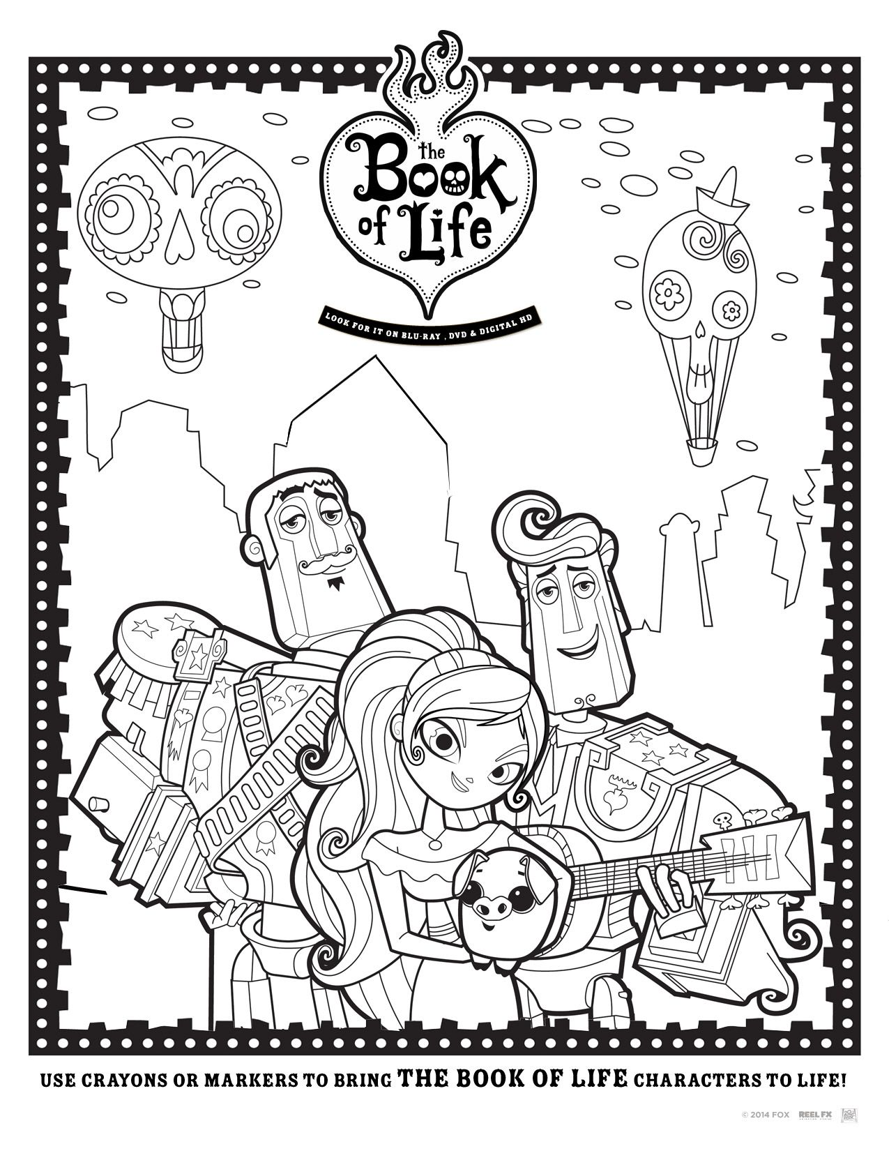 Coloring book pages pinterest - Manolo Maria Y Joaquin The Book Of Life The Free Coloring Pages