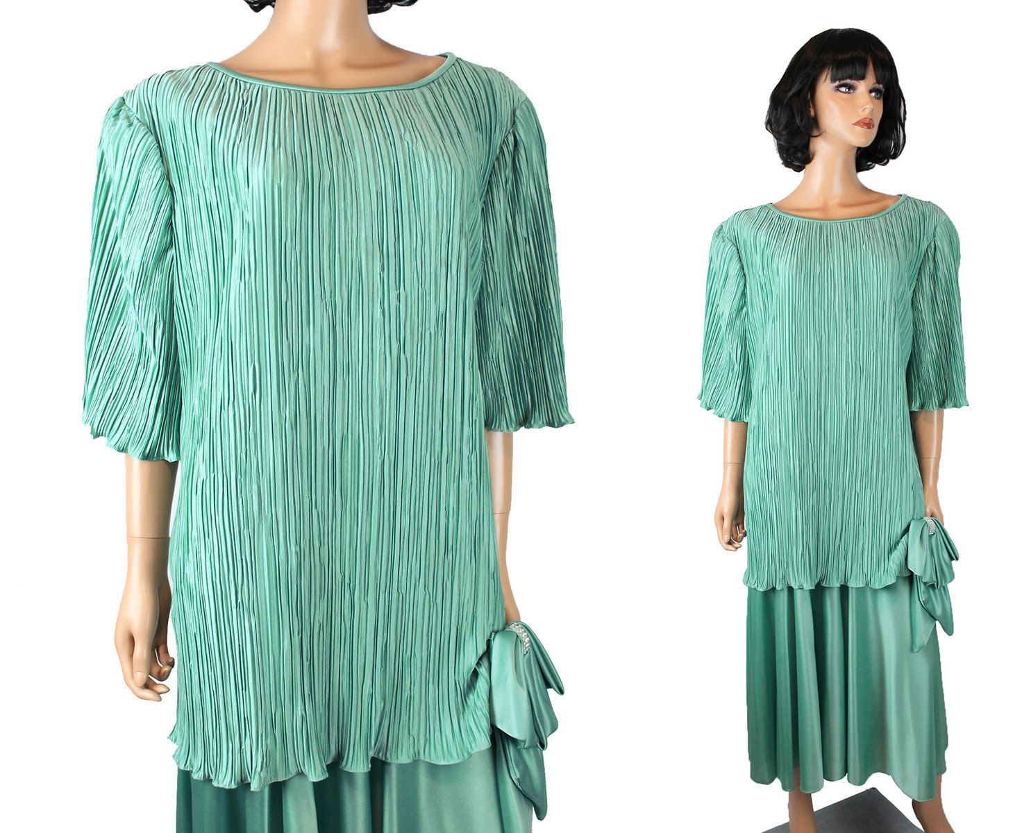 80s Prom Dress 20 XXL 2X Vintage Seafoam Green Pleated Gown ...