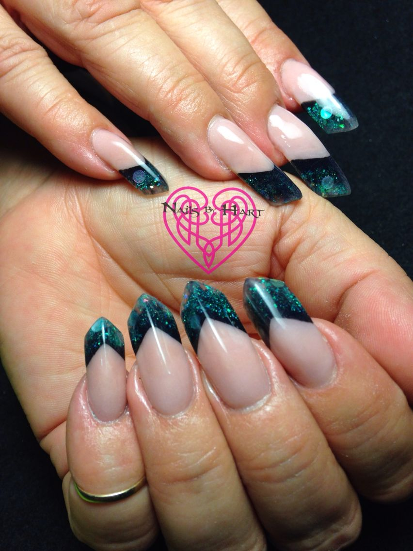 Teal Glitter Edge Shape Nails by Katie Hart Eugene, Or 541-730-2662 ...