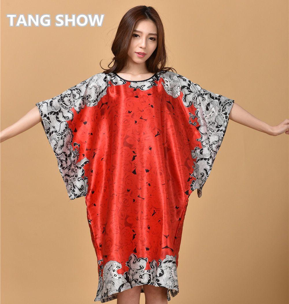 56bcebe5d08 Hot Sale Chinese Women Silk Rayon Robe Sleepwear Summer Casual Nightgown  Yukata Dress Gown Mujer Pijama Flower Plus Size WR031