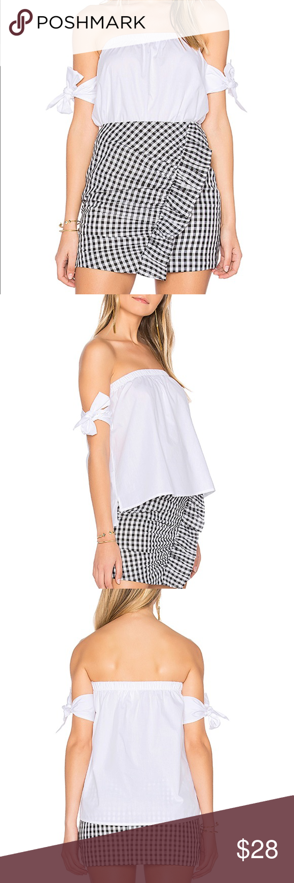5cbeec6e92e9 JOA Off The Shoulder Knot Tie Sleeve Top 100% cotton Hand wash cold  Elasticized neckline Shoulder tie straps From Revolve Brand new never worn  and still has ...