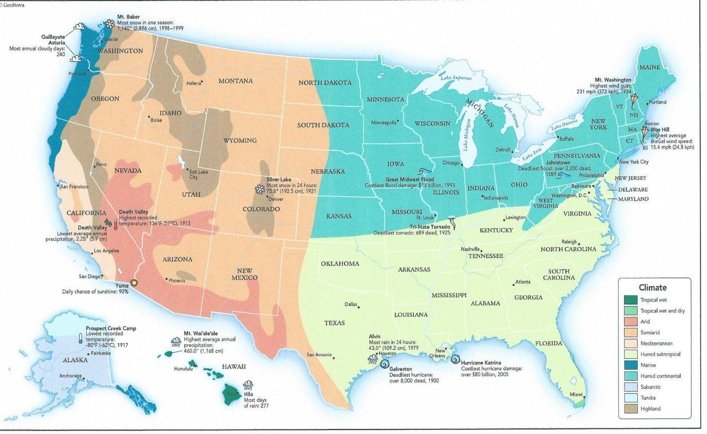 Mapa Con La Clasificación Climática De Estados Unidos Fuente - Usa mapa