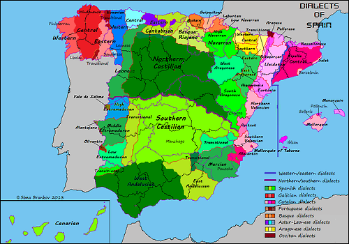Language Map Of Spain.Dialect Map Of Spain Immigration Map Of Spain Map