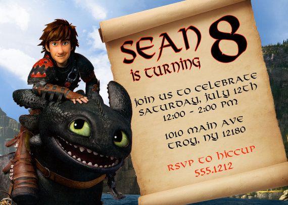 How To Train Your Dragon Invitation Printable 4x6 Or 5x7 Birthday