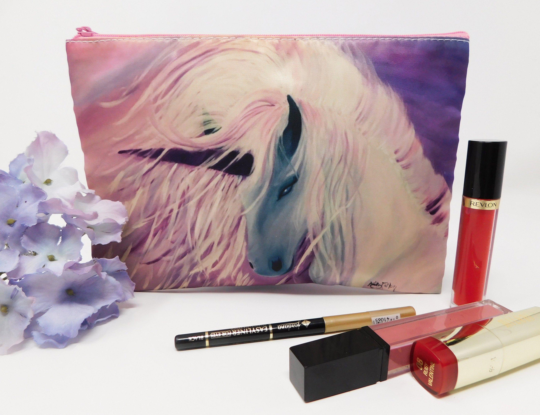 Cosmetic Makeup Zipper Bag, Unicorn Purple Wallet, Small