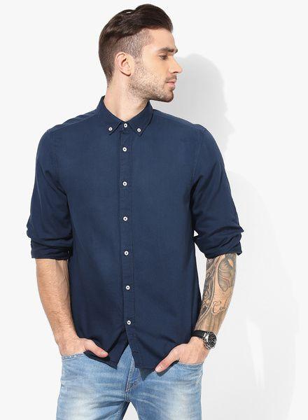 Tom Tailor- Navy Blue Solid Regular Fit Casual Shirt