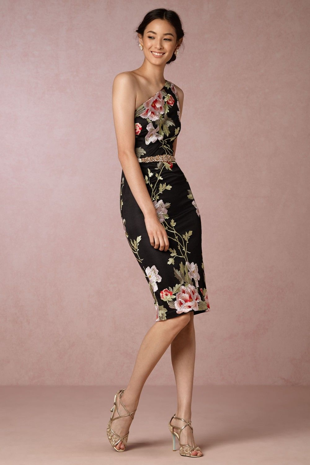 Black dresses for wedding guest  New Party Dresses for Fall and Winter   Shoulder Floral and