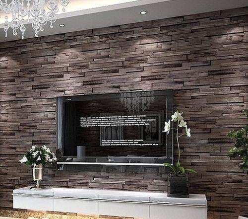 Elegant Luxury Wood Blocks Brick Wall Effect Vinyl 10M Wallpaper Roll Living Room Brown