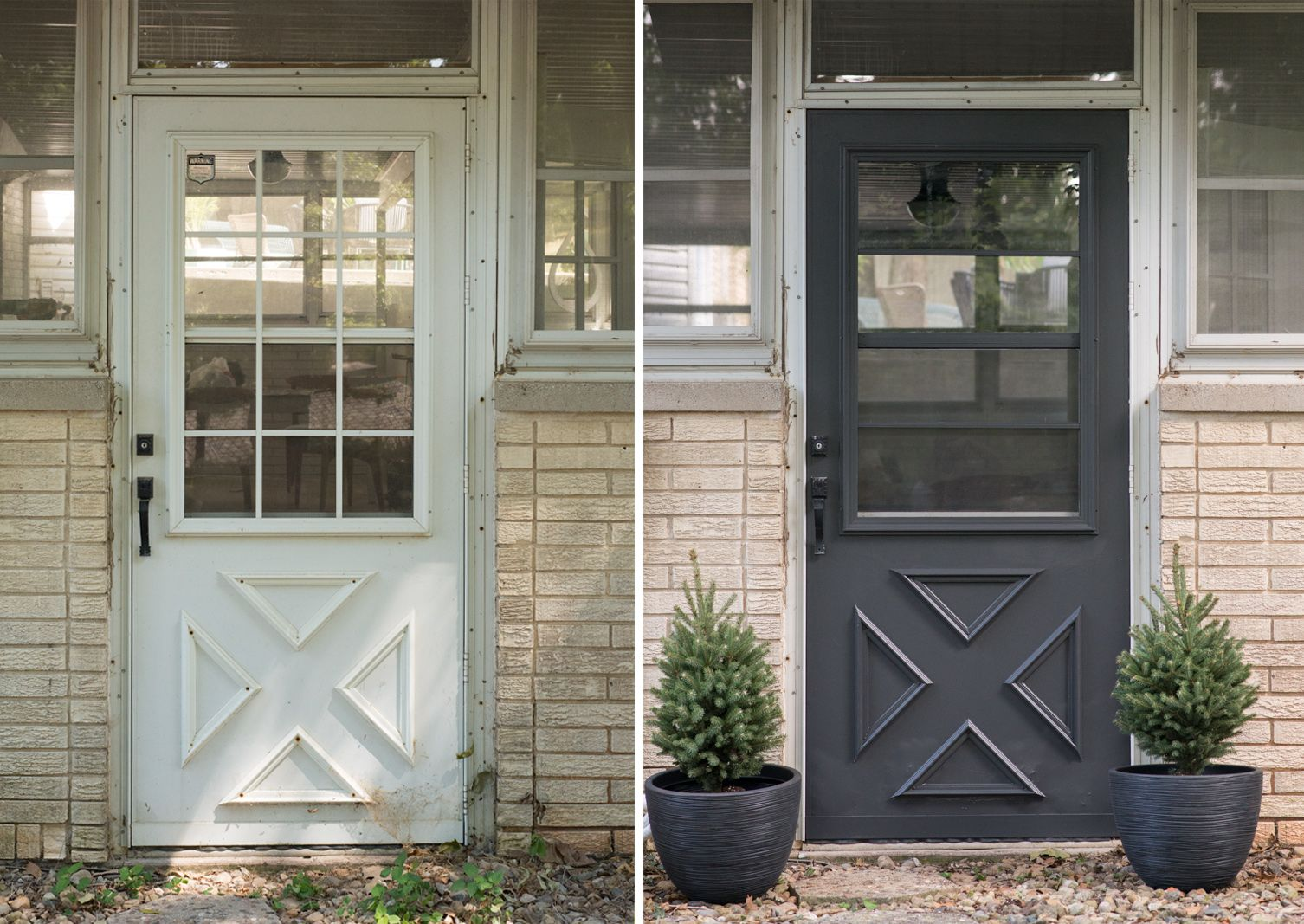 Paint Exterior Door Update Muntins Bigger Than The Three Of Us Storm Door Makeover Front Door Makeover Door Makeover Diy