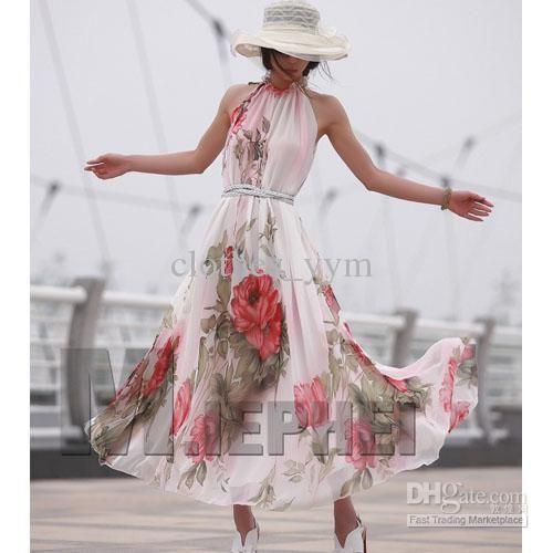 Wholesale Fashion women chiffon maxi dress Bohemian style sleeveless big flower printed summer ladies dress,  | DHgate