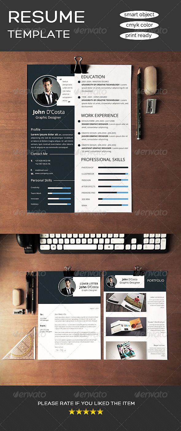 Simple & Clean Resume CV — Photoshop PSD #clean #interview ...