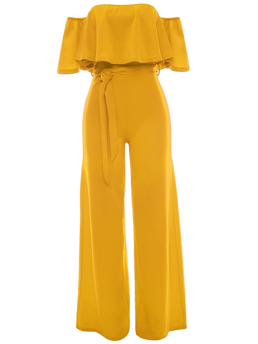 Off shoulder flounce plain wideleg jumpsuit in jumpsuits