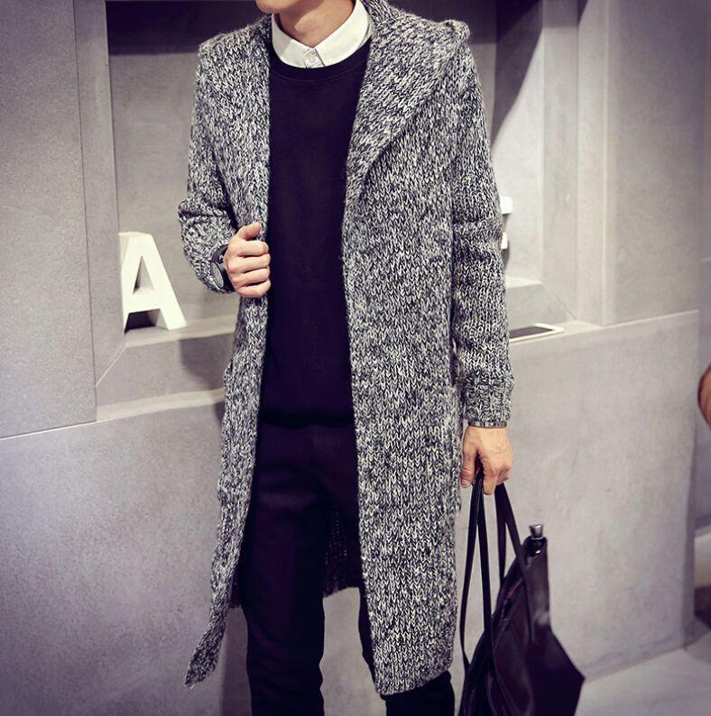 Fashion Mens Long Knit Coat Sweater Loose Cardigan Outwear Jacket ...