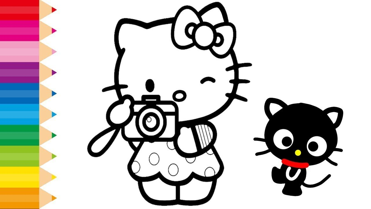 Glitter Hello Kitty Coloring Pages For Kids And Learn Colors Rainbow A