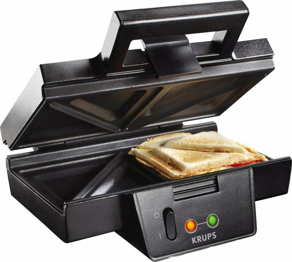 Krups Sandwichmaker Sandwich Toaster FDK451 schwarz 850 W antihaftbeschichtet