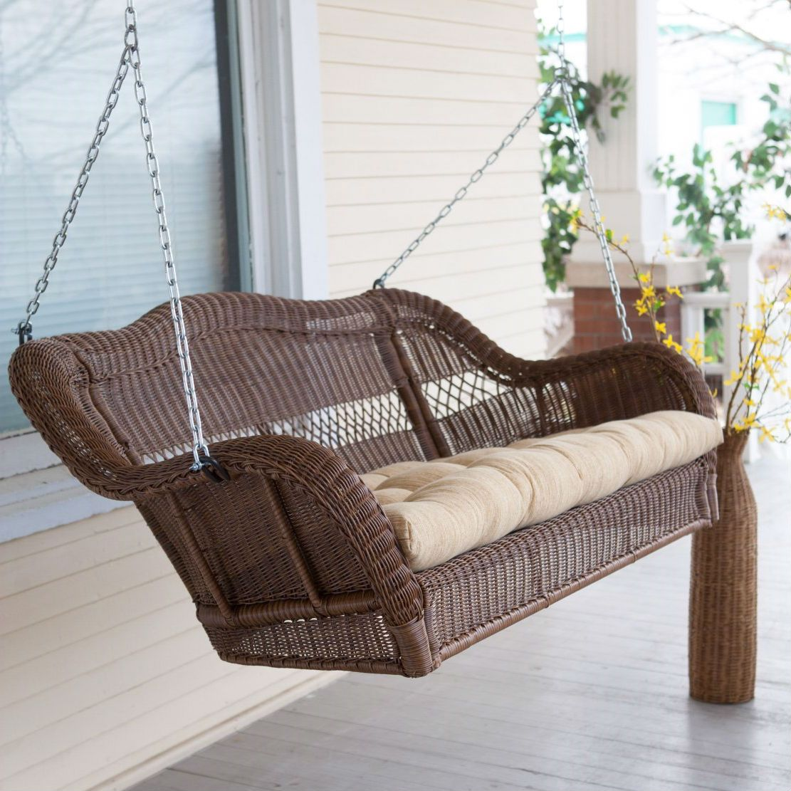 Walnut Brown All Weather Resin Wicker Porch Swing With Hanging Chain    Quality House