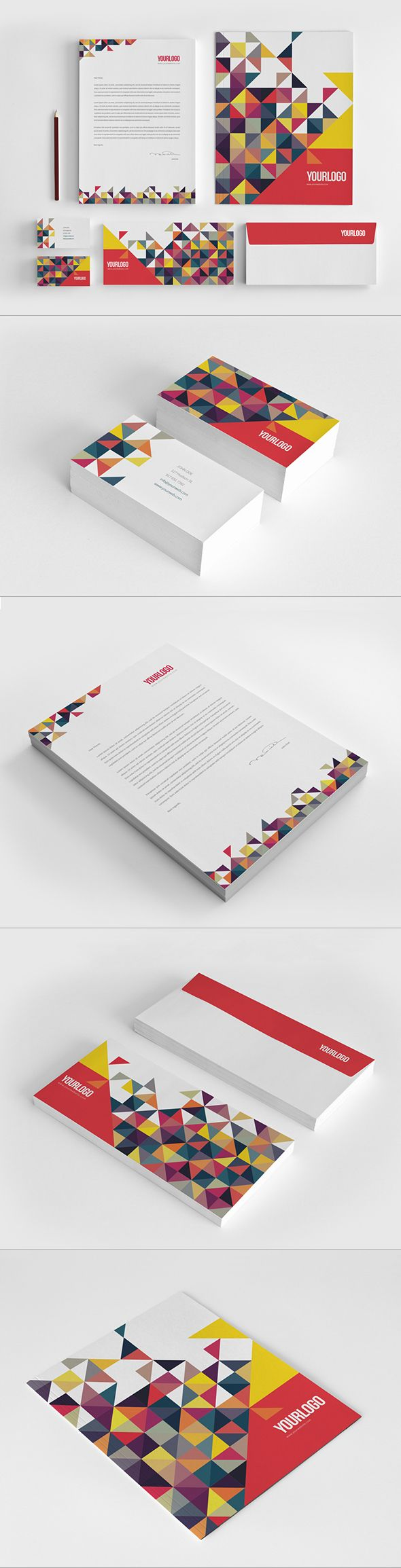 Colorful Triangles Stationery by Abra Design, via Behance #branding ...