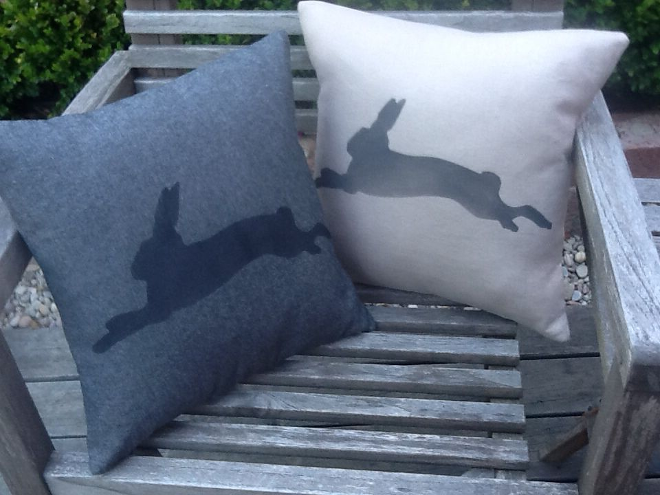NEW!  Handmade + hand painted by Claire Webber, Hobart, Tasmania.  36cm cushions.  (L) 100% natural linen + 100% (R) 100% charcoal cotton.  For more info email: webberclaire1@gmail.com