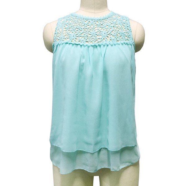 Women's Stylish Sleeveless Round Neck Lace Chiffon Blouse
