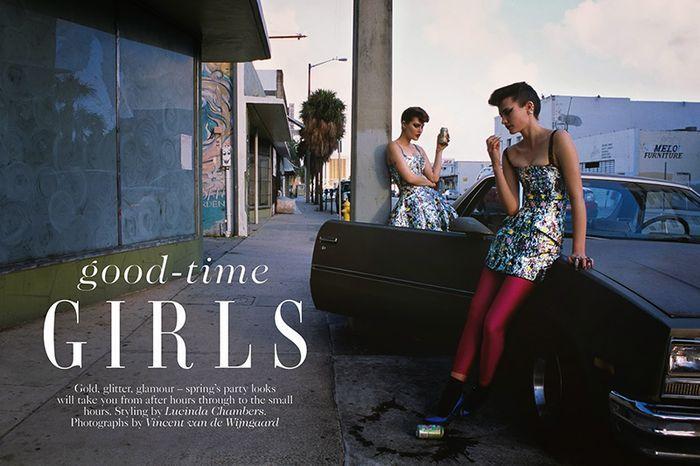 Catherine McNeil & Drake Burnette by Vincent Van De Wijngaard for UK Vogue April 2014