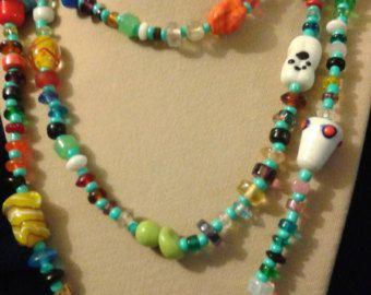 Long beaded necklace multi/aqua