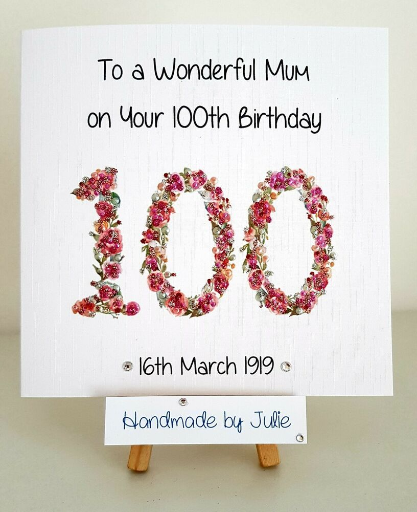 Personalised 100th Birthday Card 101st 99th 102nd 105thmum Aunt Nan Wife Grandma 100th Birthday Card Birthday Cards 100th Birthday