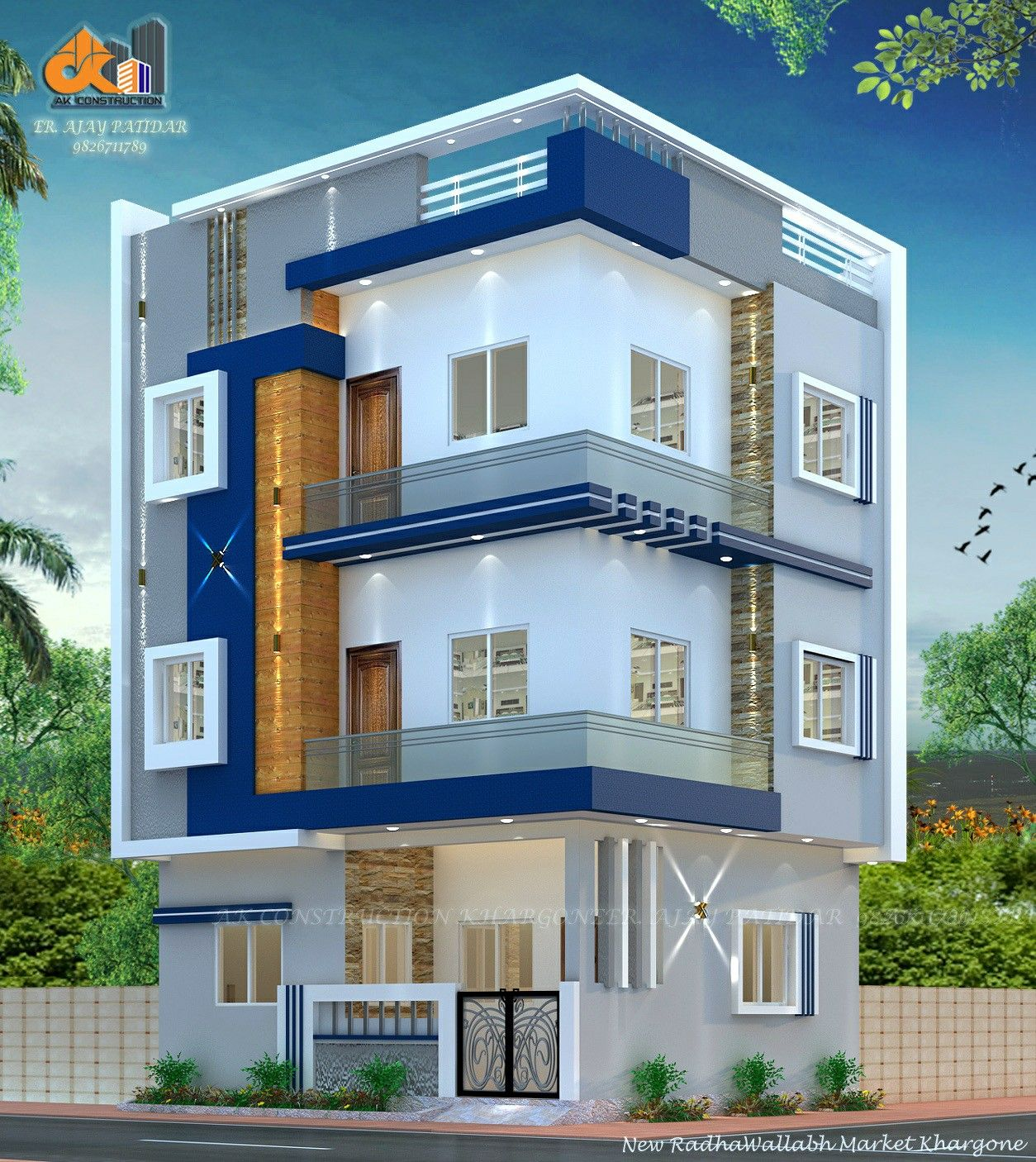 20 X 22 3 Floor Home Design In 2020 Two Story House Design House Design House Elevation