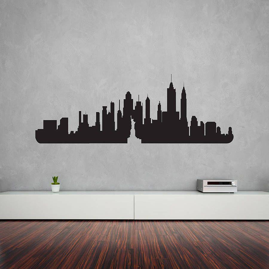 New York City Skyline Wall Art Decal Arte Dibujos