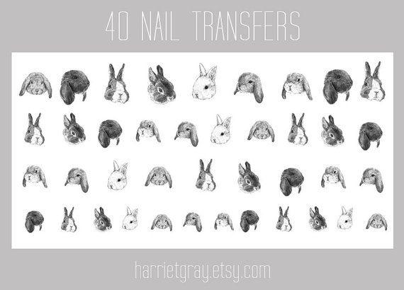 So want these! :)  bunny nail transfers  40 rabbit nail art stickers  by harrietgray, £8.00