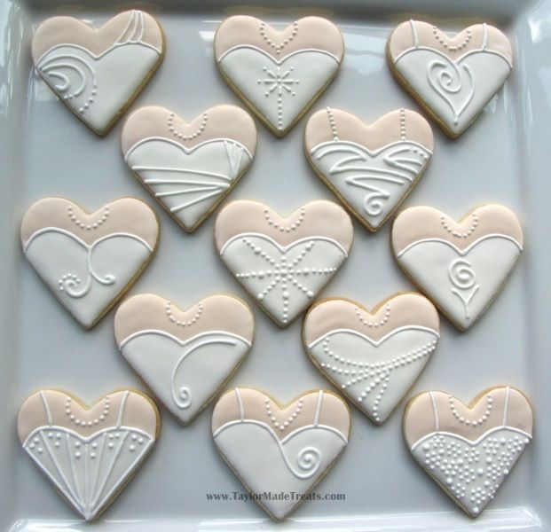 It's a Nice Day for a White Wedding Dress: Heart-Shaped Wedding Dress and Tuxedo Cookies   Taylor-Made Treats