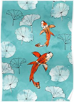 Waterlily koi in turquoise Poster