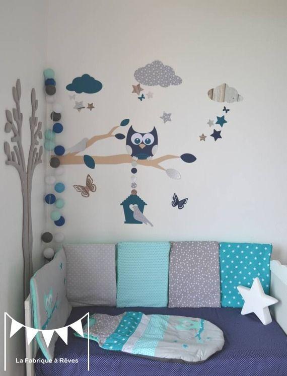 Stickers décoration chambre enfant garçon bébé branche cage à oiseau hibou oiseaux étoiles bleu pétrôle craft gris argenté blanc de lalbum