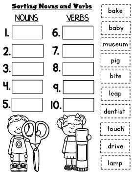 Nouns and Verbs Worksheets | Nouns, verbs worksheets ...