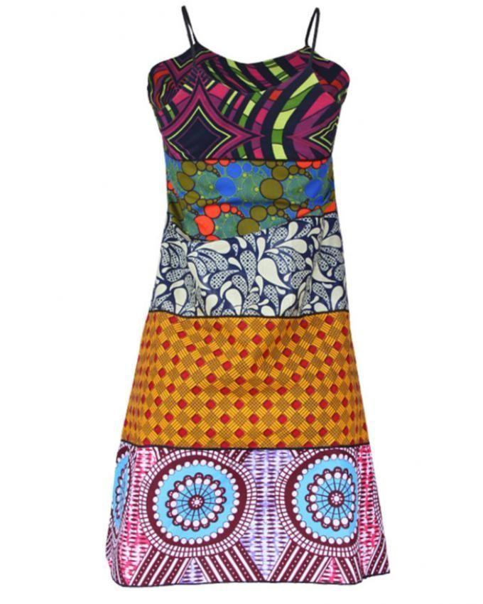8a9390f2f39d Fatos Clothing Ankara Patch Dress - Multicolour | Buy online | Jumia Nigeria