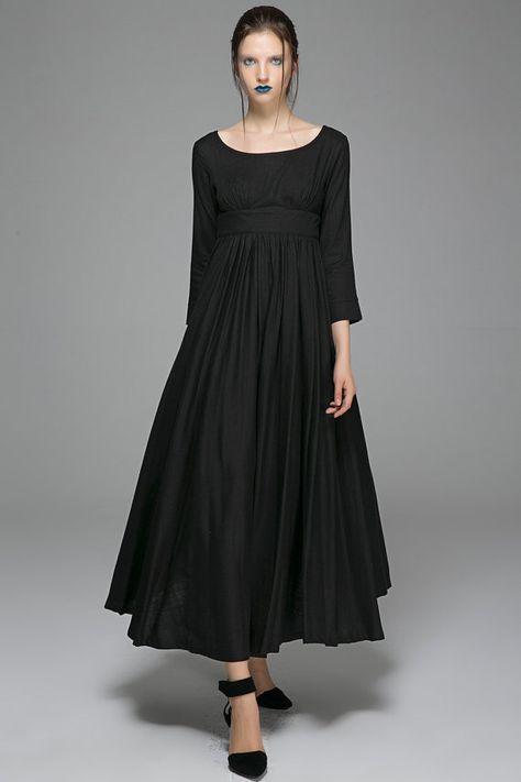 Abiti di lino per le donne vestito nero abito maxi di xiaolizi