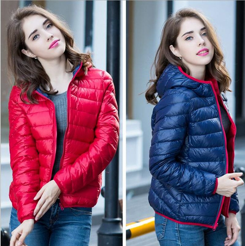 S-XXXL New 2016 Winter Two Side Women 90% White Duck Down Jacket ...