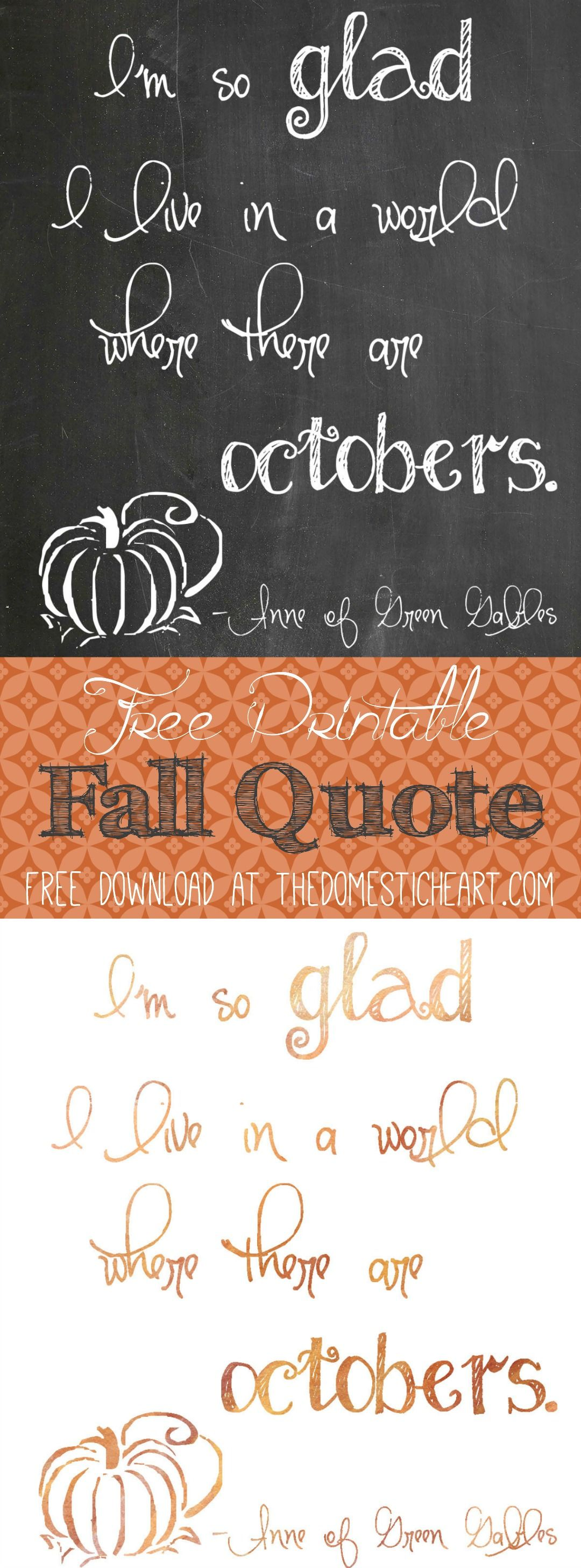 Series of fall quotes in cute chalkboard or watercolor prints from TheDomesticHeart.com