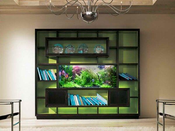 Book Shelf Built Around The Aquarium