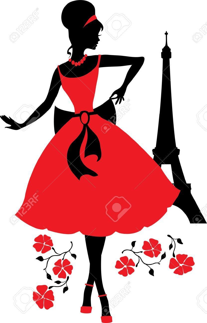 32090834-Retro-woman-silhouette-Stock-Vector-paris-woman-vintage.jpg (831×1300)