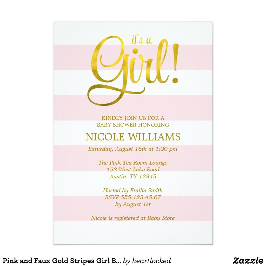 Pink and Faux Gold Stripes Girl Baby Shower 5x7 Paper Invitation ...