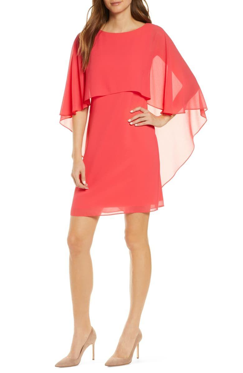 Vince Camuto Chiffon Cape Cocktail Dress Nordstrom Fashion Clothes Women Women Long Sleeve Dress Overlay Dress [ 1196 x 780 Pixel ]