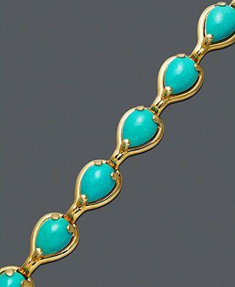 14k Gold Bracelet, Turquoise Teardrop (6-5/8 ct. t.w.) - Bracelets - Jewelry & Watches - Macy's
