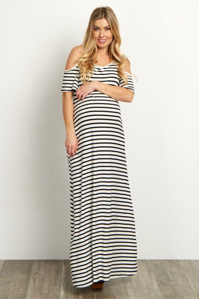 7dab1635351 Black Striped Cold Shoulder Maternity Maxi Dress