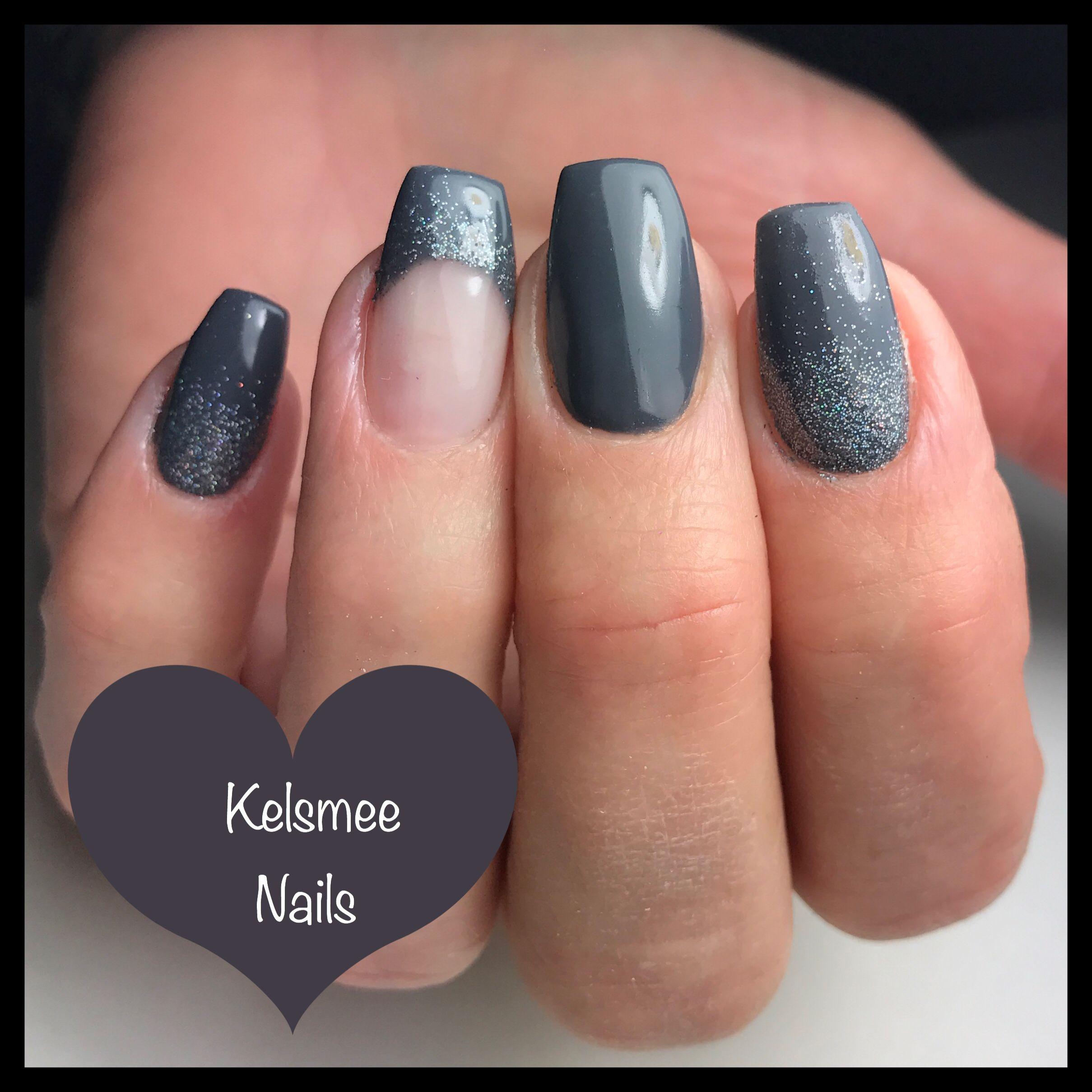 ManiQ Grey with glitterpress and french manicure - Nagels ...