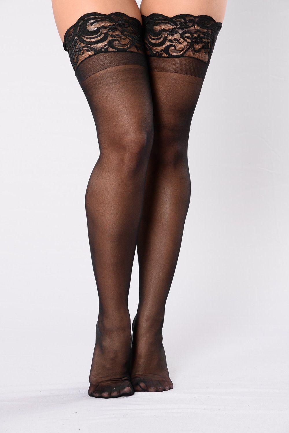 48c1b019f Sheer Thigh High Lace Top Stocking - Black