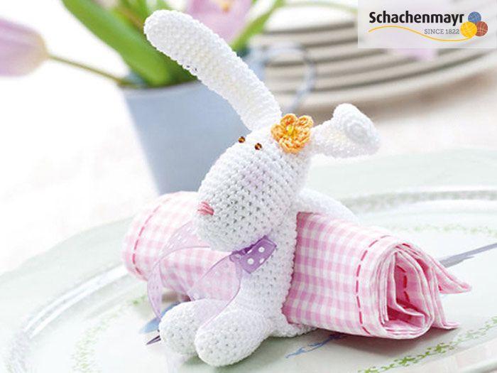 diy anleitung hasen serviettenring h keln diy tutorial how to crochet a bunny shaped napkin. Black Bedroom Furniture Sets. Home Design Ideas