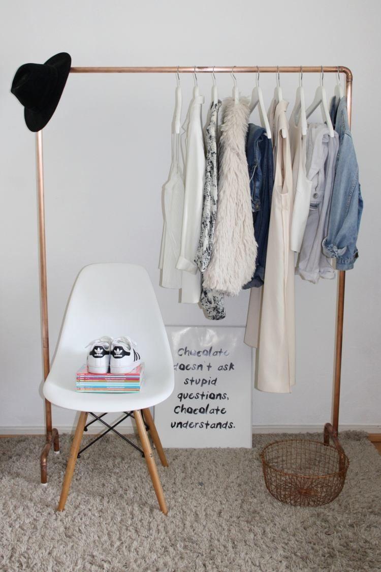 eine eigene kleiderstange aus kupferrohren selber bauen einrichtung pinterest. Black Bedroom Furniture Sets. Home Design Ideas