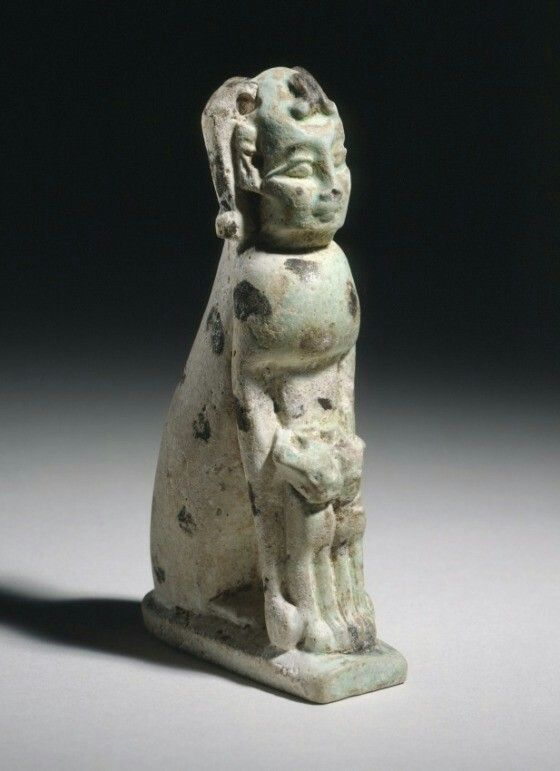 Faience sculpture of a human-headed cat. 7th - 6th century B.C. | Los Angeles County Museum of Art